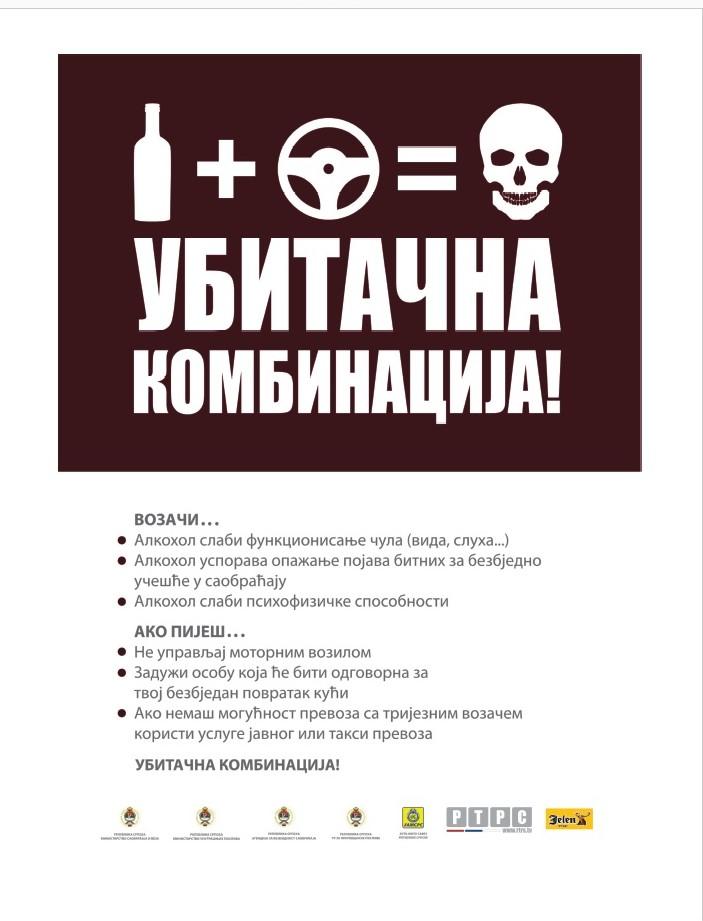 """Сутра почиње кампања  """"АЛКОХОЛ+ВОЛАН=УБИТАЧНА КОМБИНАЦИЈА""""/""""СРЕЋНА НОВА, БЕЗ ЖРТАВА"""""""